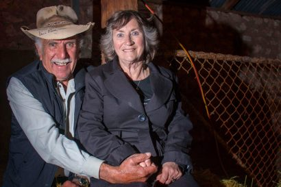 """Peter """"Stoney"""" Stone with wife Sally (Nee Bilsborough) of Blanche Harbour via Port Augusta having a quiet moment during the Mallee Mob get together at Jaensch's Shearing Shed, Tailem Bend, Saturday, October 25."""