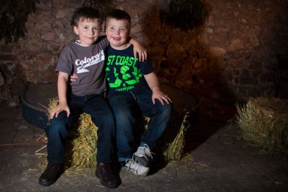 Young William Jaensch-Law and Tyler Jaensch-Brown enjoying themselves at the Mallee Mob get together at Jaensch's Shearing Shed, Tailem Bend, Saturday, October 25.