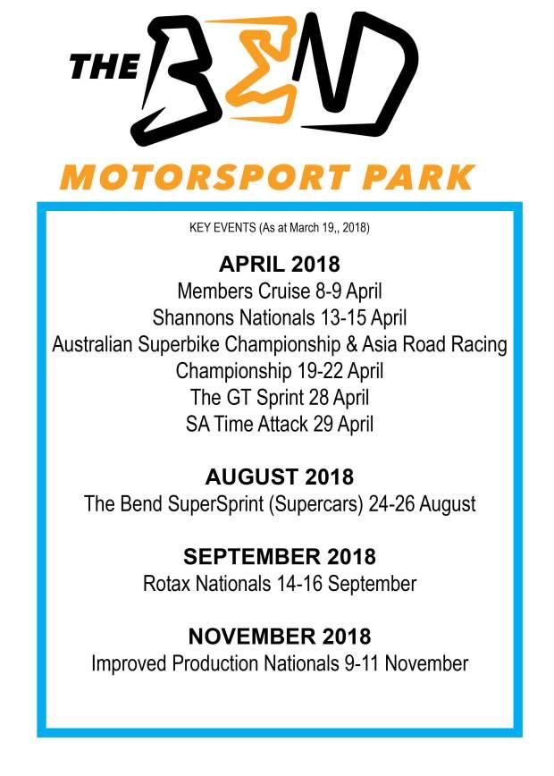 MARCH EVENST 2018 THE BEND MOTORSPORT PARK